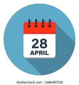 Calendar leaf icon showing April 28th on blue background