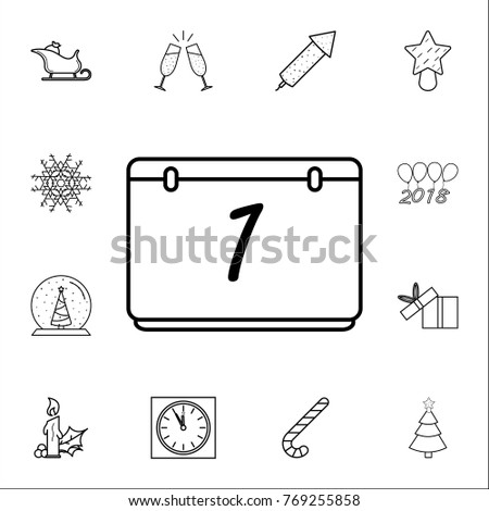 calendar line icon 1 january set of christmas and new year icons signs