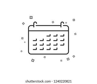 Calendar line icon. Accounting sign. Calculate finance symbol. Business audit. Geometric shapes. Random cross elements. Linear Calendar icon design. Vector