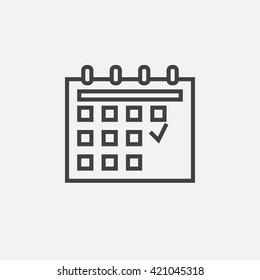 calendar line icon, outline vector logo illustration, linear pictogram isolated on white