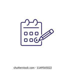 Calendar line icon. Pencil marking date. Schedule concept. Can be used for topics like time management, planning, deadline, special date