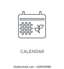 Calendar linear icon. Calendar concept stroke symbol design. Thin graphic elements vector illustration, outline pattern on a white background, eps 10.