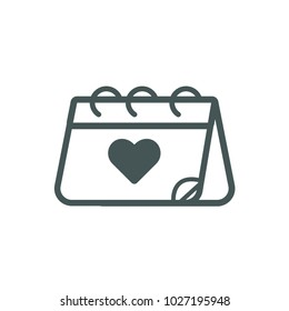 Calendar Love Icon Line Vector. Love symbol. Valentine's Day sign, emblem isolated on white background, Flat style for graphic and web design, logo.