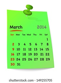 Calendar for march 2014 on green sticky note attached with green pin. Sundays first. Vector illustration