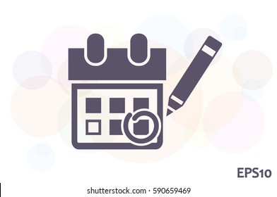 Calendar marking that important date icon vector illustration eps10. Isolated badge for website or app - stock infographics.