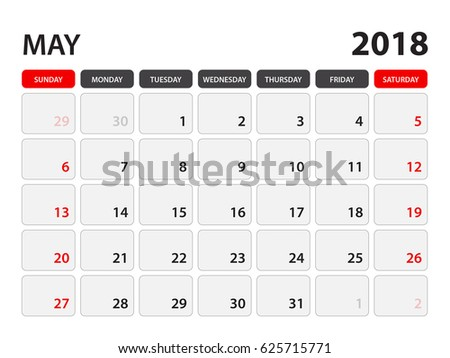 calendar may 2018 week starts on stock vector royalty free