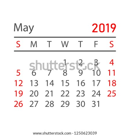 Calendar May 2019 Year Simple Style Stock Vector Royalty Free