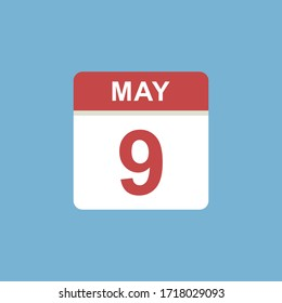 calendar - May 9 icon illustration isolated vector sign symbol