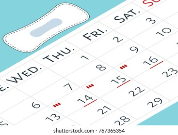 A calendar with the menstrual days marks and menstrual pads. Vector illustration of blood period calendar with blood drops. Menstruation period pain protection. Feminine hygiene, monthlies rainy days