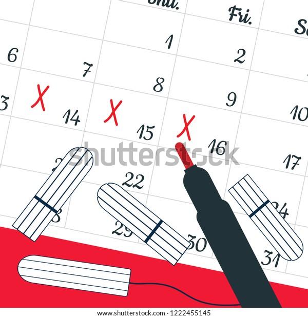 Calendar Menstrual Days Marks Menstrual Tampons Stock Vector