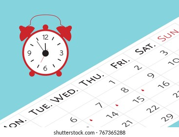 The calendar with the menstrual days marks. Vector illustration of blood period calendar with blood drops and alarm clock. Menstruation period pain protection. Feminine hygiene, monthlies rainy days