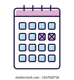Calendar method color icon. Safe sex. Menstrual cycle tracking. Monthly planning. Unintended pregancy prevention. Birth control for woman. Planner page, schedule check. Isolated vector illustration