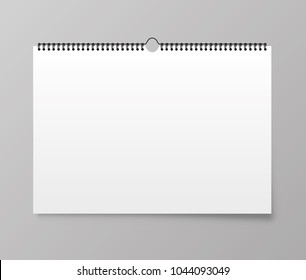 Calendar mockup. Calendar hangs on the wall. Vector illustration