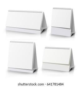 Calendar Mockup Set Vector. Table Desktop Calendar Template. Design Mock up With Blank Pages And Black Spiral Illustration