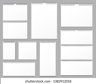 Calendar mockup. Wall calendars binded on metal spiral, hanging notes page and notebook pages 3d realistic vector illustration set