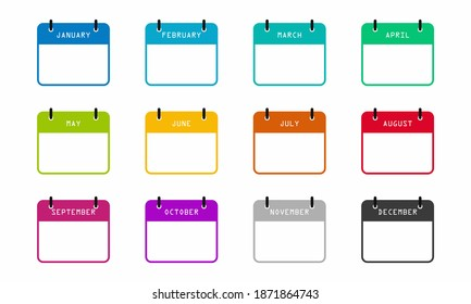 Calendar month isolated vector icons on white background. Month vector isolated calendar schedule. Business plan schedule.