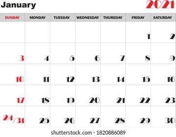 Calendar month January 2021 vector
