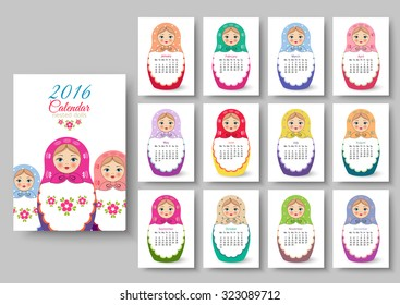Calendar with nested dolls 2016. Vector illustration