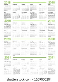 Calendar, New Year    2018, 2019, 2020,  2021 with green lines