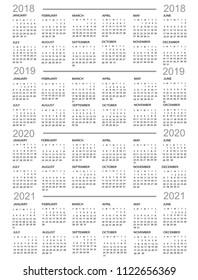 Calendar, New Year    2018, 2019, 2020,  2021