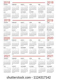 Calendar, New Year    2018, 2019, 2020,  2021 with red lines
