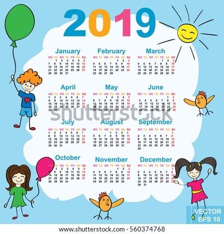 the calendar new year 2019 date for your design