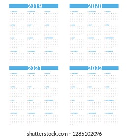 Calendar next 4 year simple style on white background. Week starts Sunday.