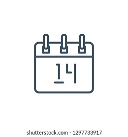 Calendar with the number 14 outline style icon. Valentine's Day and Love theme for websites of web design and mobile applications.