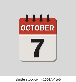 The calendar. October 7th. Vector illustration. Flat design for business financial marketing banking web concept cartoon illustration.