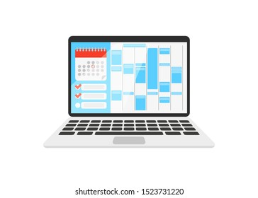 calendar on the laptop with check list in flat