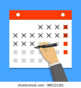 Calendar on the wall and hand crossing out days on it. Flat design vector illustration