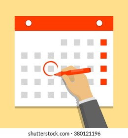 Calendar on the wall and hand marking one day on it. Flat design vector illustration