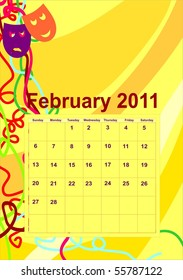 calendar page for February 2011 with copyspace for company name or sign, no gradients