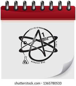 Calendar page with symbols for atheist day. Vector illustration