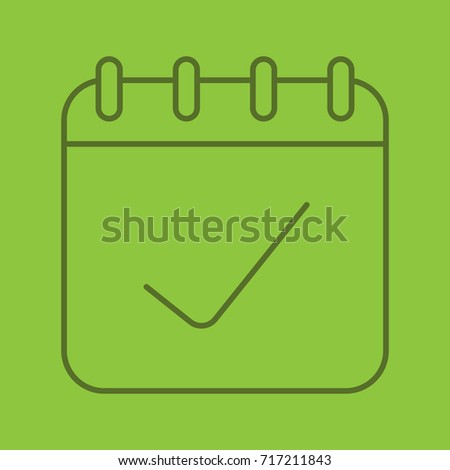 Calendar Page Tick Mark Linear Icon Stock Vector (Royalty Free