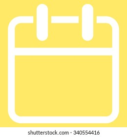 Calendar Page vector icon. Style is flat symbol, white color, rounded angles, yellow background.