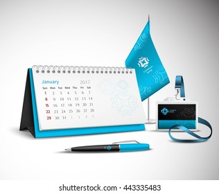 Calendar pen flag and badge corporate identity mockup set of blue color for your design on light background realistic vector illustration