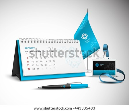 Calendar pen flag and badge corporate identity mockup set of blue color for your design on light background realistic vector illustration