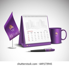 Calendar pen flag and cup corporate identity mockup set of purple color for your design on light background realistic vector illustration
