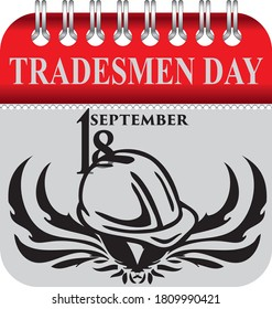 Calendar with perforation for changing dates - september Tradesmen Day