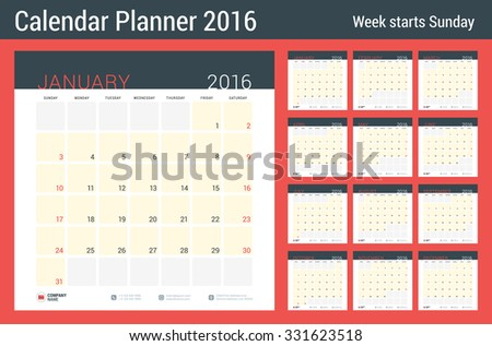 calendar planner 2016 year vector stationery stock vector royalty