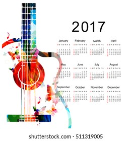 Calendar planner 2017 design template with colorful guitar. Music themed calendar poster, week starts Sunday. Organization management concept, calendar isolated, vector illustration background
