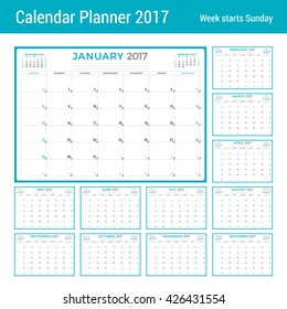 Calendar Planner for 2017 Year. Vector Design Template. Set of 12 Months. Week Starts Sunday. 3 Months on Page. Stationery Design