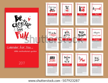 Calendar Planner 2017 Year Vector Design Stock Vector Royalty Free