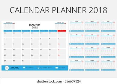 Calendar Planner 2018, size 6X8 inch.