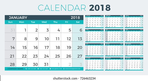 Calendar Planner 2018 year. Simple minimal wall type calendar template. Week starts from sunday. vector illustrator