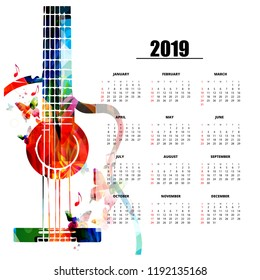 Calendar planner 2019 template with colorful guitar. Music themed calendar poster, week starts Sunday. Calendar layout for 2019 isolated, vector illustration background
