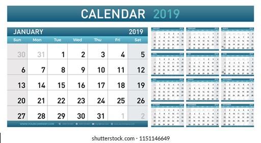 2017 2018 2019 2020 Calendar Planner Stock Vector Royalty Free