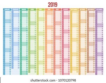 Calendar Planner for 2019 Year. Vector Stationery Design Print Template with Place for Photo, Your Logo and Text.
