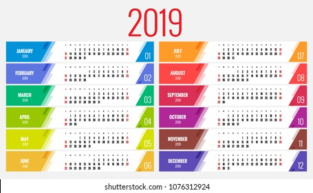 Calendar Planner for 2019 Year. Vector Stationery Design Print Template with Place for Photo, Your Logo and Text. Portrait Orientation. Set of 12 Months.